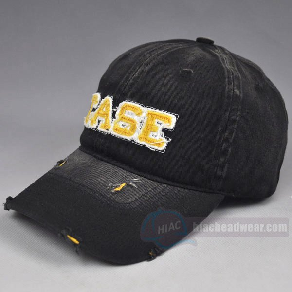 Custom washed baseball cap left