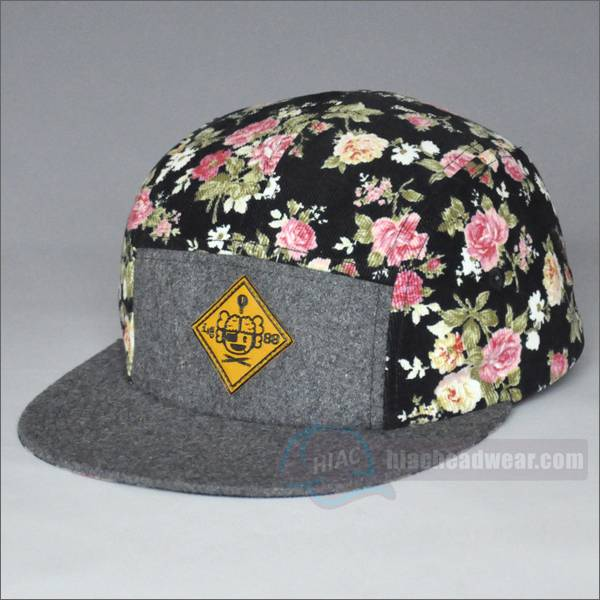 custom 5 panel hats leather patch left