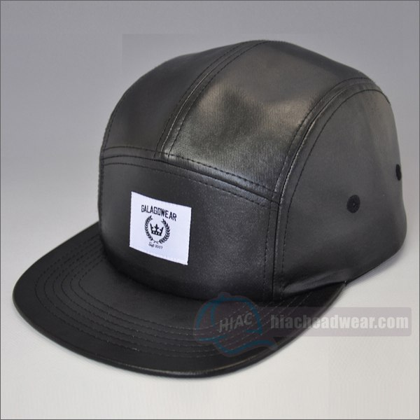 custom black leather 5 panel hat left