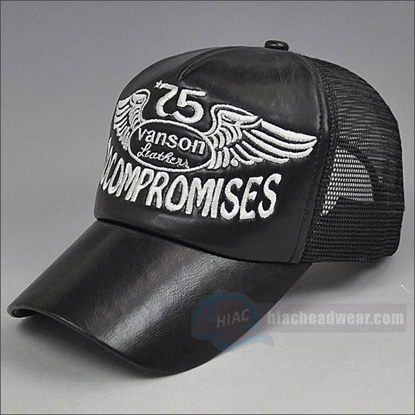 custom black trucker hat leather embroidery logo
