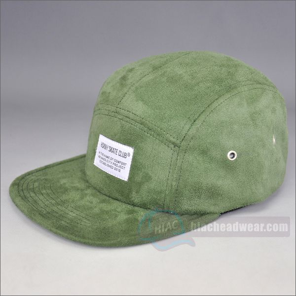 custom blank Suede 5 panel cap