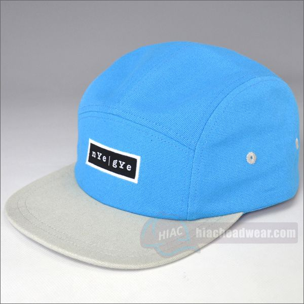 custom blue five panel hats label