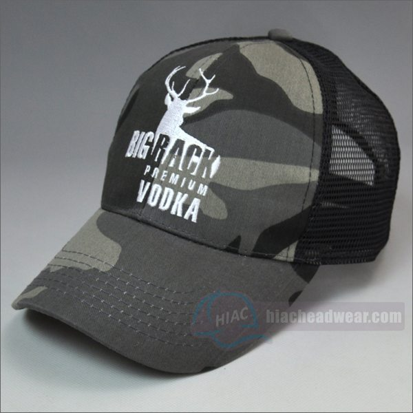 custom camo trucker hats flat embroidery