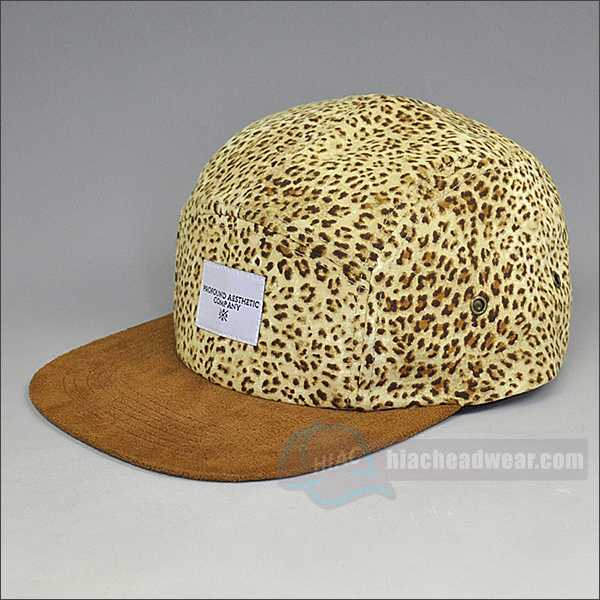 custom five panel caps leopard