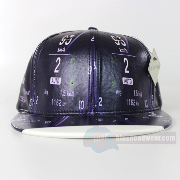 custom flat brim hats black leather front