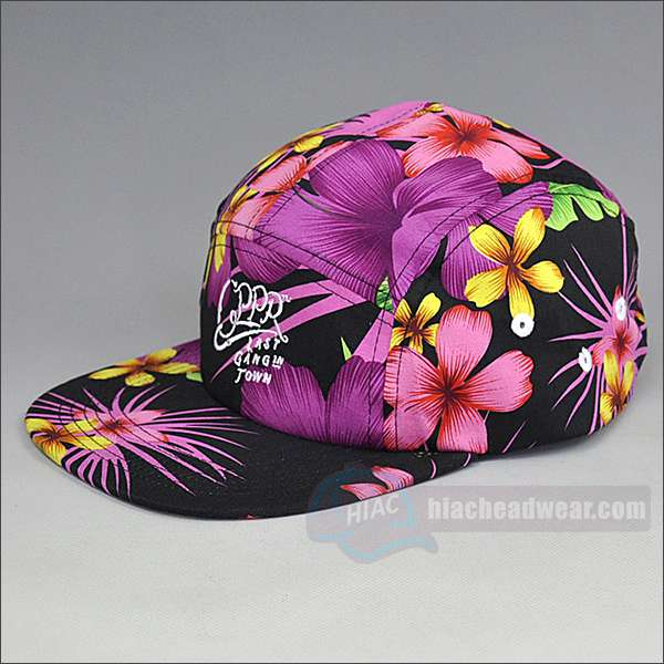 custom floral five panel hats left