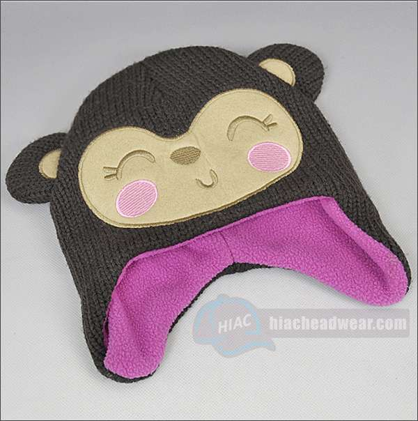 custom kids winter hats monkey