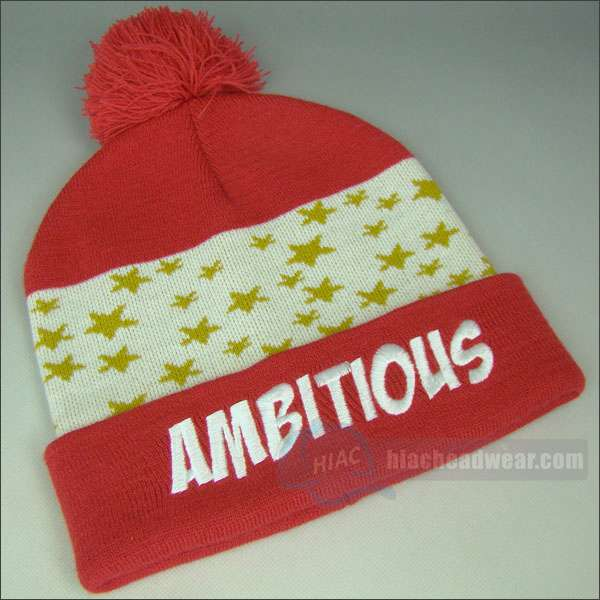 custom knitted beanie jacquard red