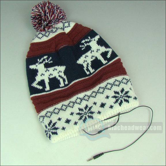 custom knitted beanie jacquard weave earphone