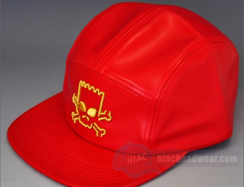 Custom Leather Red 5 Panel Hat