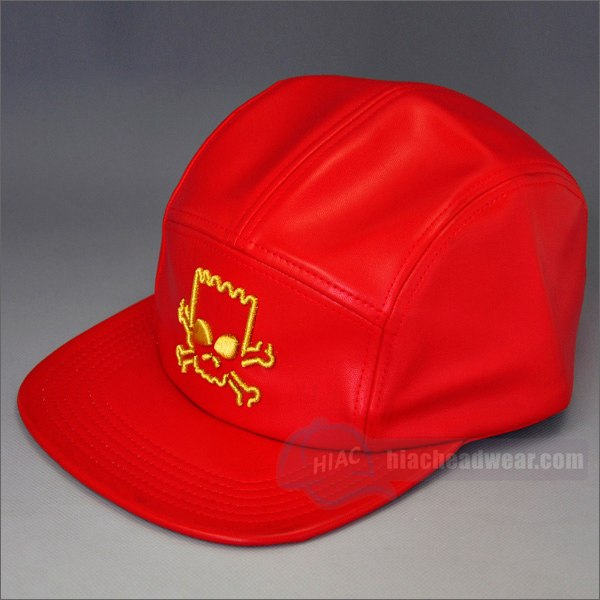 custom leather 5 panel hat red left