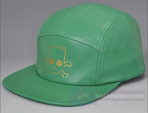 Custom Leather Five Panel Hat Green