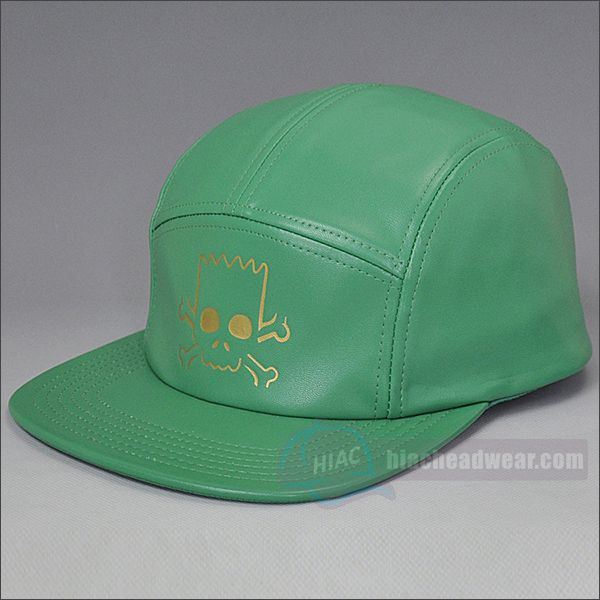 custom leather five panel hat Green embossed