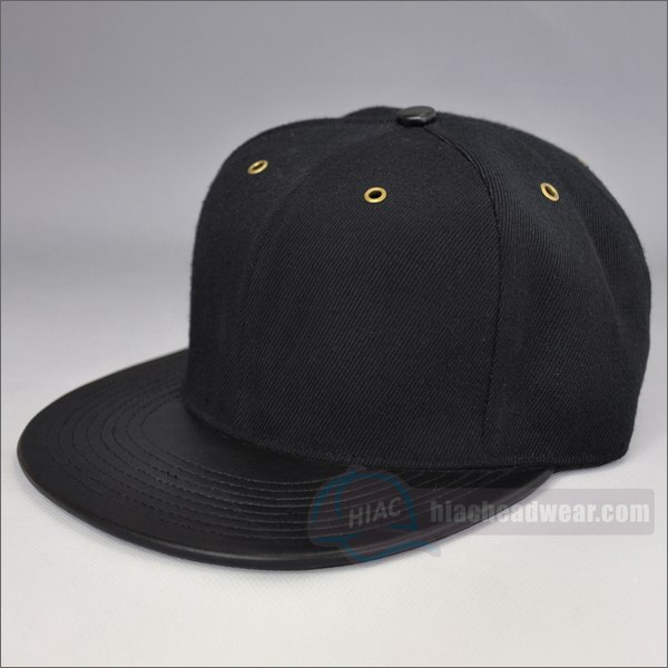 custom plain snapback hats black
