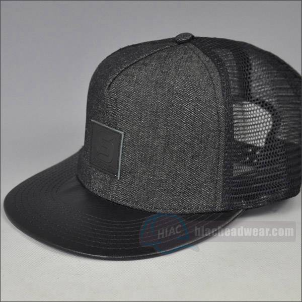 custom trucker snapbacks leather patch