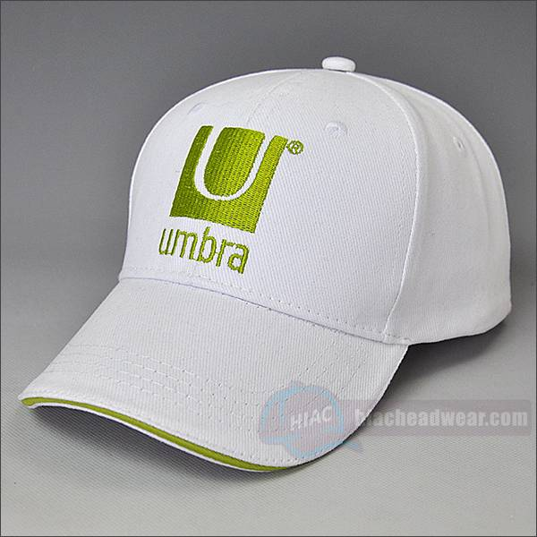 custom white emb cotton baseball cap left