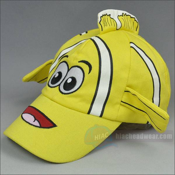 custom yellow cartoon kids baseball hat left