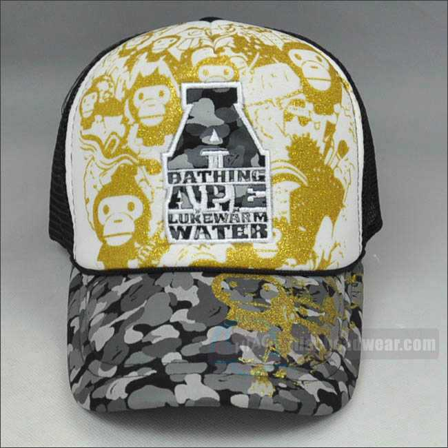 customized vintage trucker hat Gold powder printing